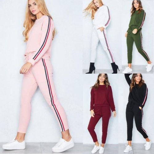 2019 manga longa sweater terno moda casual para calças esportes das mulheres camisola calças esportivas fhM7n