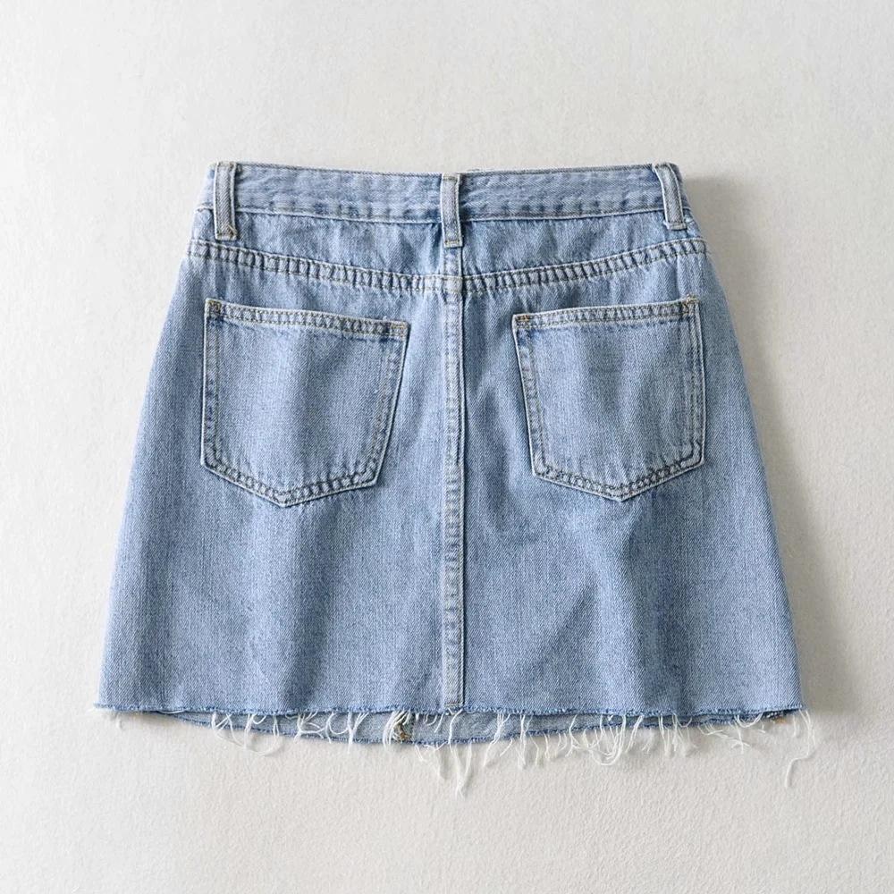 O3nth 2020 летние косой юбка новой конструкции наружные нерегулярные одиночные карманные заусенцы денима Placket высокой талии денима юбка