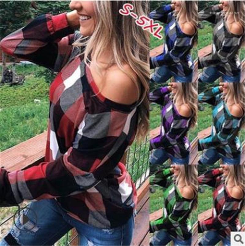 Designer camiseta Min Sexy Plaid impresso colher pescoço Tops Casual Plus Size Female roupa Outono Womens