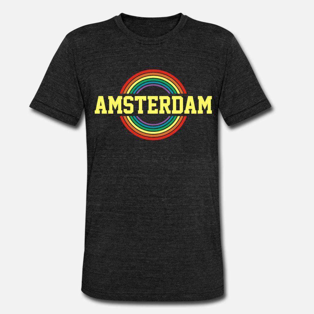 Gay Pride d'Amsterdam hommes de T-shirt Personnalisez le coton O cou couleur unie Lumière du soleil d'été Comical style chemise naturelle