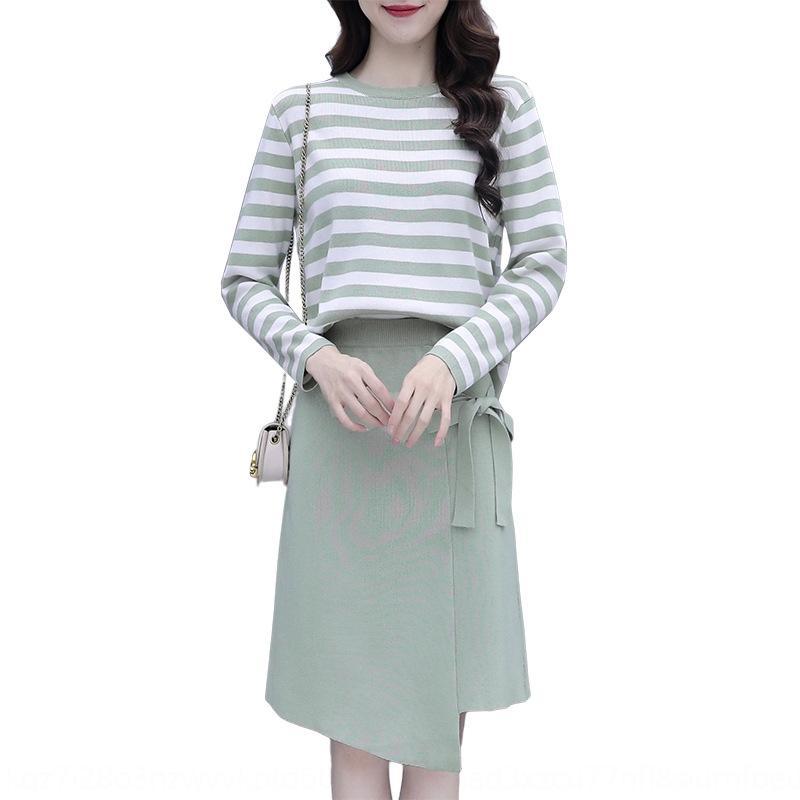 Sonbahar takım Long'un kazak etek kadın 2020 yeni kadın giyim Koreli gündelik uzun kollu Orta uzunlukta elbise kazak örme çizgili etek