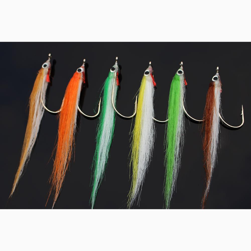 Tigofly 12 pcs 1/0 4cm High Carbon Hook Polar Fry Salmon Trout Sea Bass Steelhead Minnow Fly Fishing Flies Lure Set Y200827
