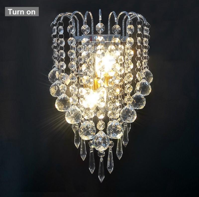 E14 Moderne K9 Kristallspiegel Edelstahl Wandleuchten Wandleuchten Sconce Leuchten Licht für Flur Nacht Wohnzimmer