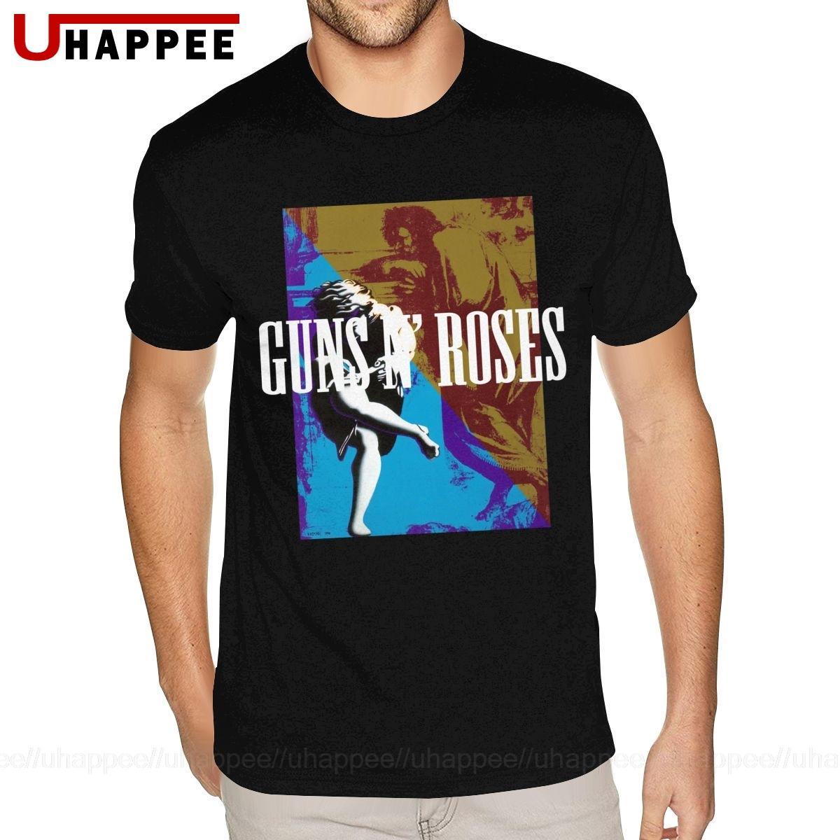Большой и Высокий Размер Harajuku Guns N Roses Рубашка мужская с коротким рукавом Прохладный Мужчины лето футболки Vintage Looking Одежда