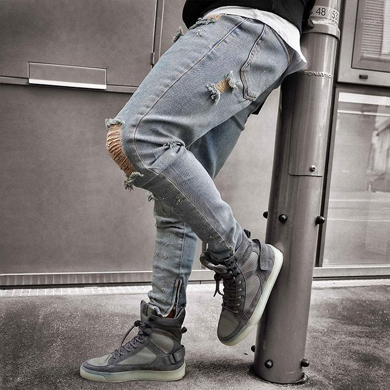 Tasarımcı Kot Delikler Mavi dökümlü Slim Fit Fermuar Kalem Pantolon Moda Erkek Hombes Pantalones Sokak Stili Erkek Ripped
