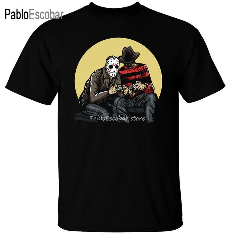 Больший размер Teeshirt Геймеры T-Shirt Mens смешной Jason Freddy Halloween Geek Nerd Компьютер Фильм ужасов Улица Tee Shirt
