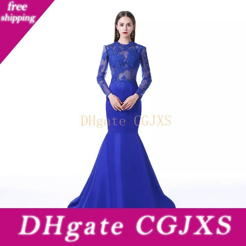 Dantel Aplikler 2020 Uzun Kollu Abiye Giyim Royal Blue ile Abaya Mücevher Boyun Saten Mermaid Akşam Resmi Modelleri