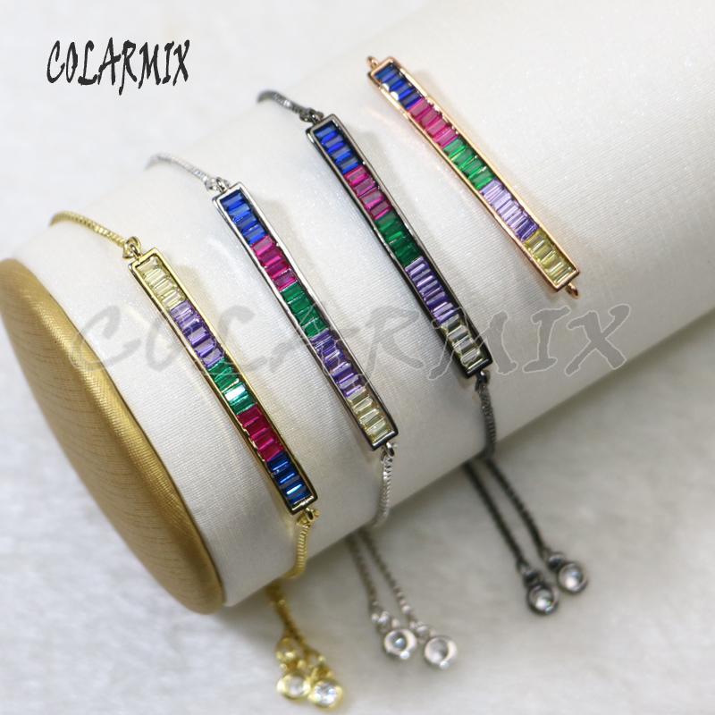 8 Pcs do arco-íris pulseiras cor retângulo micro pave cadeia ajustável pequena pedra charme pulseira de macramé para as mulheres 5699