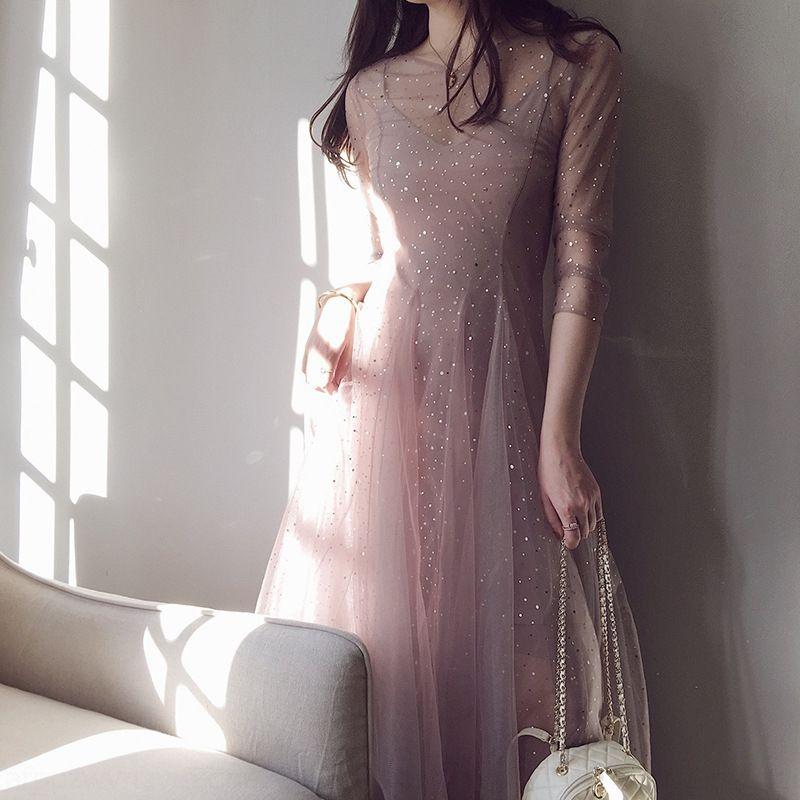 5F2oB avv7c 2019 automne nouvelle femme été soirée robe très maille fée nationale robe minoritaire française