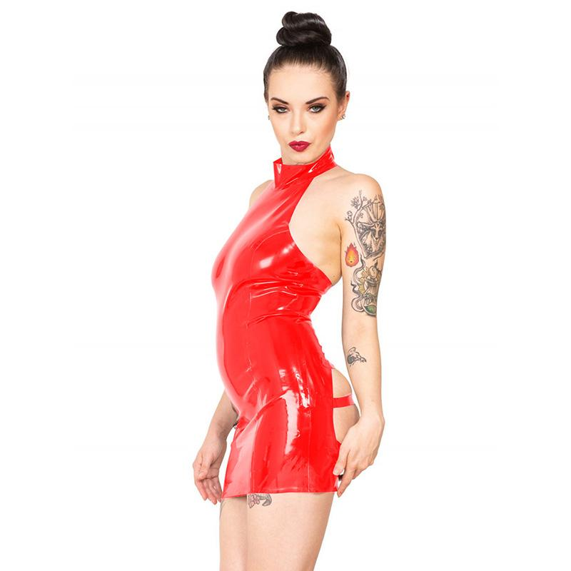 15 Colors Attractive Backless Bandage Mini Dress Ladies Sleeveless PVC Punk Vestido Sexy Open Buttock Adjustable Belt Club Dress