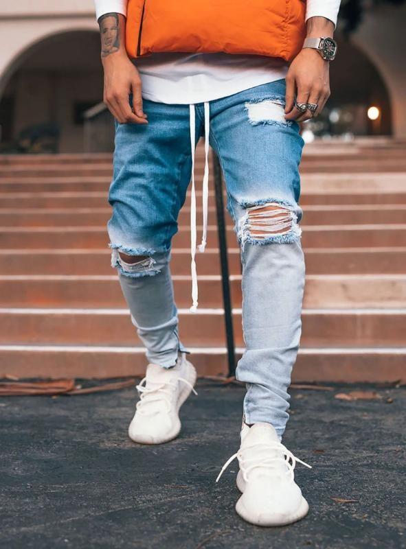 Laamei Gradient Farbe zerrissene Jeans-Mann-beiläufiger Sport Jogger Jeans Männer nehmen Motor Biker Hip Hop Zipper Denim-Hosen-Hose