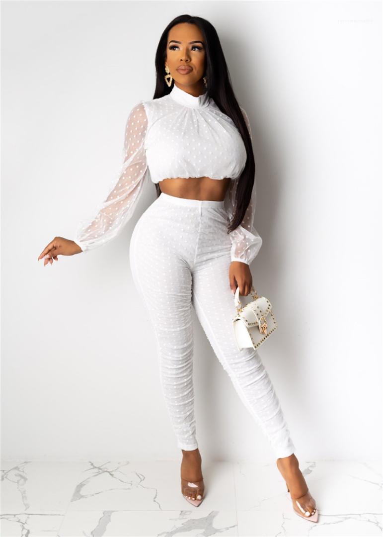 Couleur naturelle longues Pantalons femmes Vêtements femmes Designer Costumes Polka Dot Print 2PC Mode Mesh lambrissé à manches longues Hauts Casual