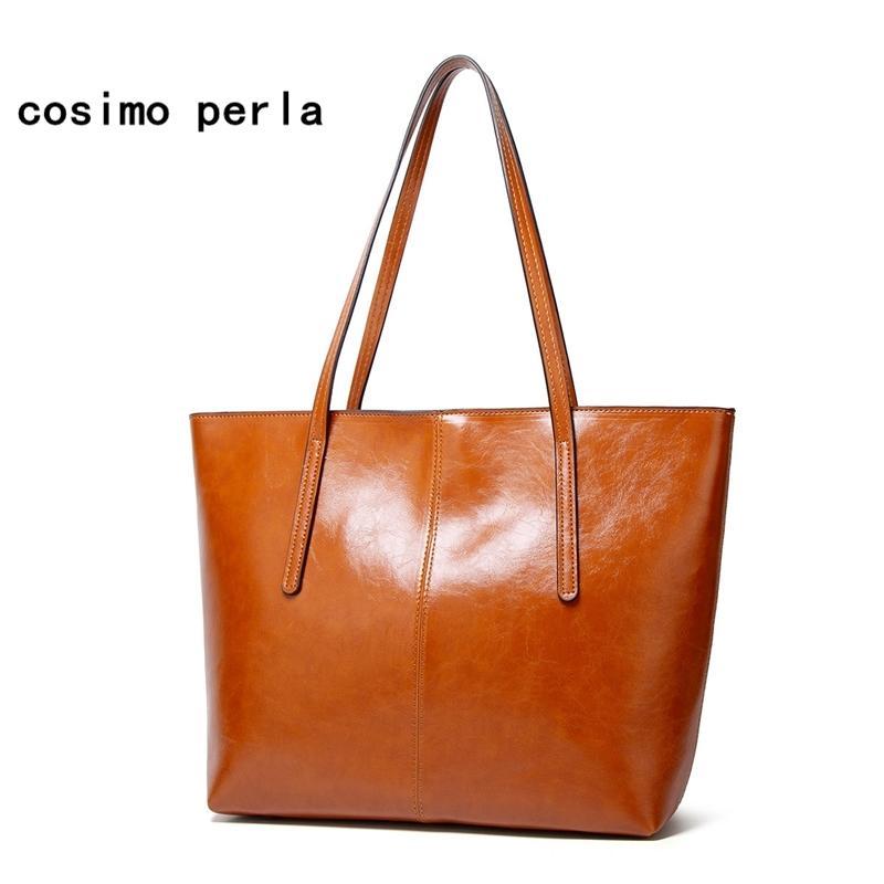 New Work Wax Couro Tote Mulheres Moda Bolsas De Bolsas De Desenhista Big Ombro Sacos Brown Shopper Capacidade 2020 Feminino Bag Kktha