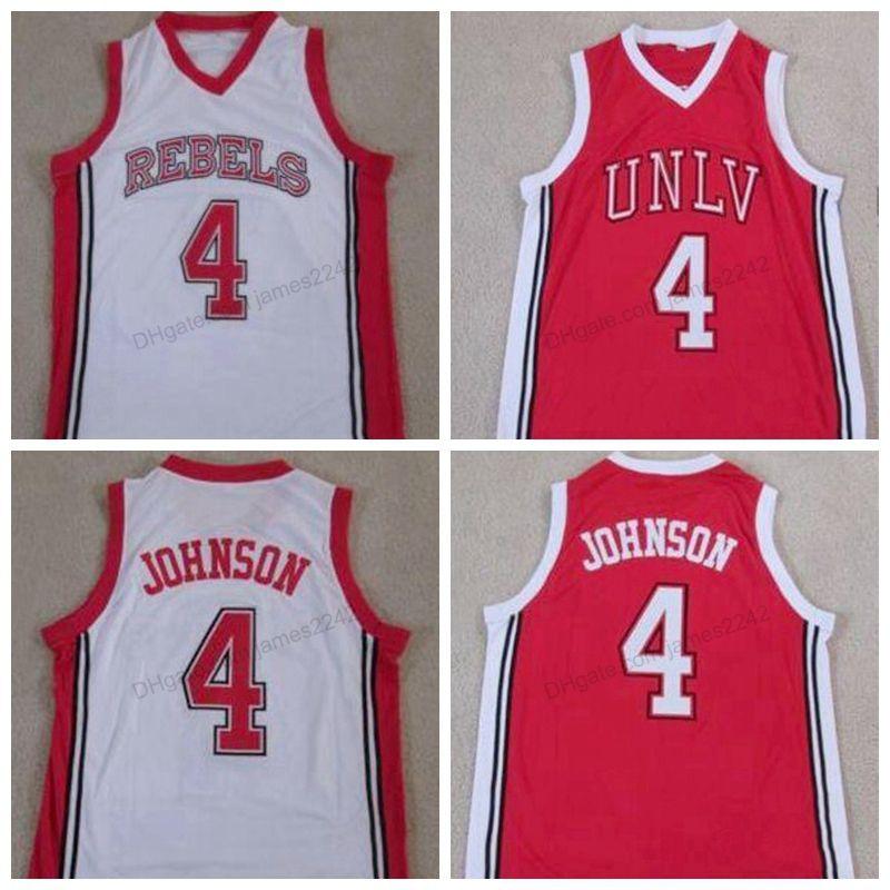 Benutzerdefinierte Retro-Männer # 4 Larry Johnson UNLV-Rebellen Runnin College Basketball-Trikots genäht Größe 2xs-3XL 4XL 5XL 6XL Jeder Name oder Nummer