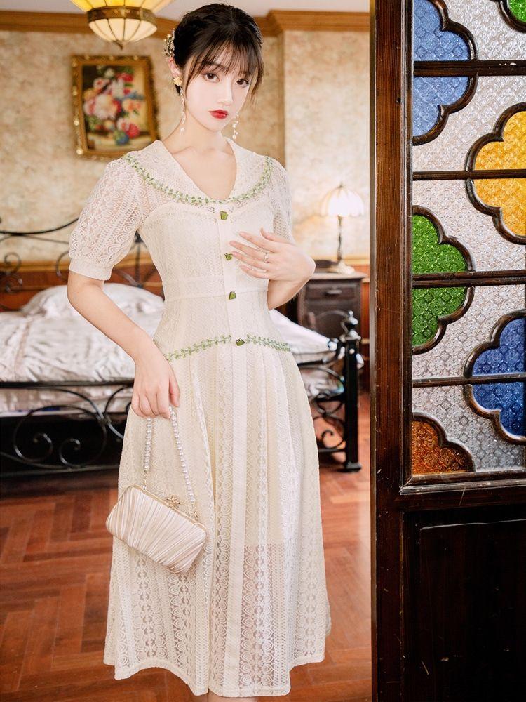 6EyFT française nouvelle robe en dentelle dentelle légère fée super Mori 2020 niche robe tempérament minceur taille d'été matures