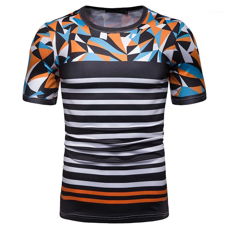 Hülsen-Pullover Männer Tees Lässige Männer Kleidung Streifen Panelled Print Herren Designer-T-Shirts Art und Weise dünne kurze