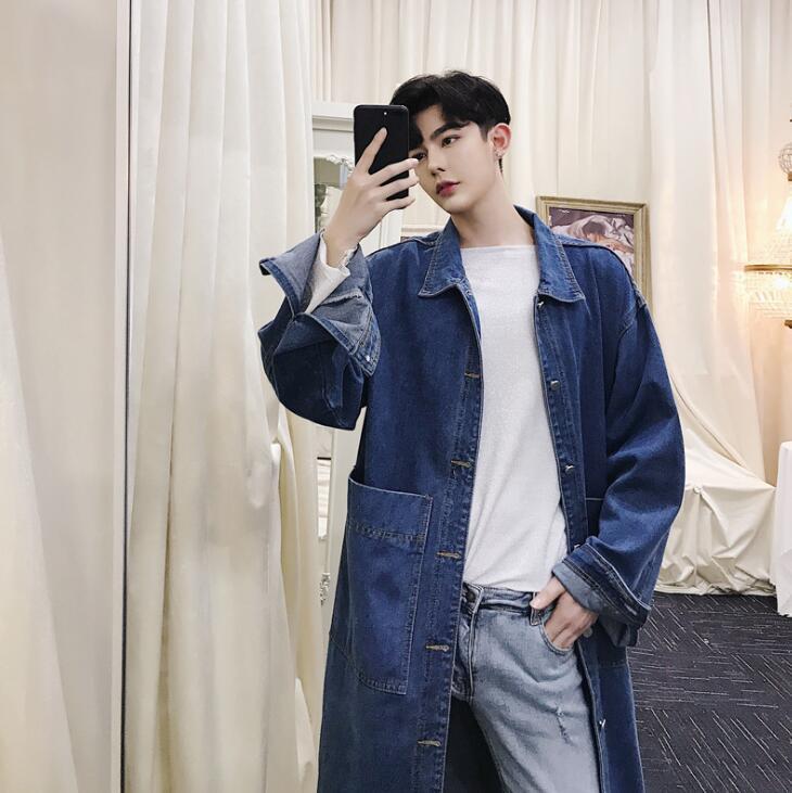 Mens trinchera abrigos largos hombre hombres de la capa del dril de algodón lavado de ropa pura cosecha de color abrigo de manga larga 2020 del otoño el nuevo azul del diseñador