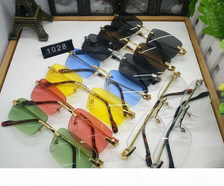 Yeni Erkek Tasarımcı Optik Çerçeve Gözlük Rimless Altın Metal Buffalo Horn Gözlük Temizle Lensler Güneş occhiali lentes Lunette De Soleil