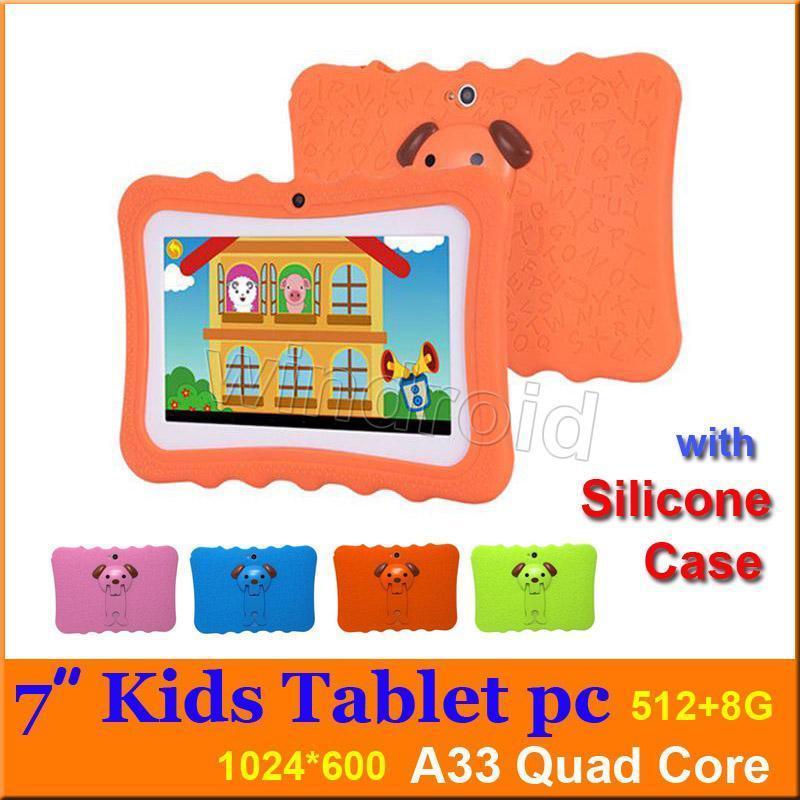 cgjxs Ucuz Çocuk Tablet Pc 7 inç Allwinner A33 Dört Çekirdekli 512 8GB Çocuklar Tabletler Android 4 0,4 Wifi Büyük Hoparlör Silikon Kılıf Noel Gif