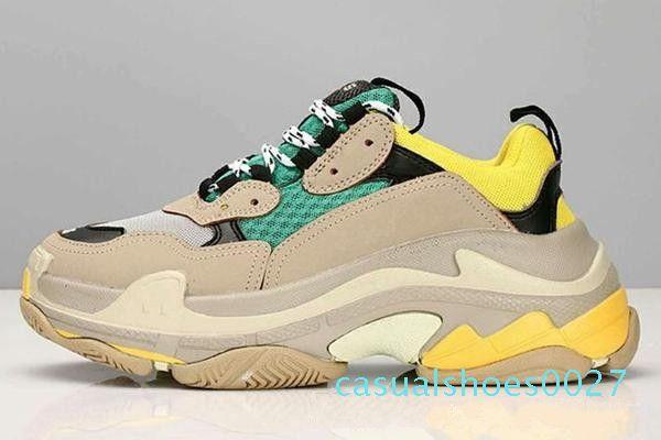 2Cheap Moda Paris Üçlü Sneakers Kadınlar Bej Siyah ucuz spor Eğitmenler Chaussures C27 için gündelik baba Erkek Tasarımcı Ayakkabı Triple-S