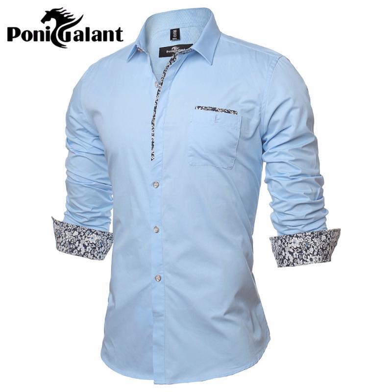 PoniGalant 100% algodão floral listrado camisa dos homens Slim Fit Negócios Formal shirt de manga comprida Mens Asiático Tamanho M-5XL