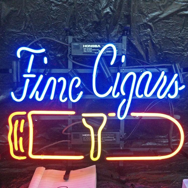 Cigarros fina muestra de neón personalizada Luz al aire libre Bar Club de presentación visual de entretenimiento Decoración luz de neón de la lámpara con cubierta de marco de metal