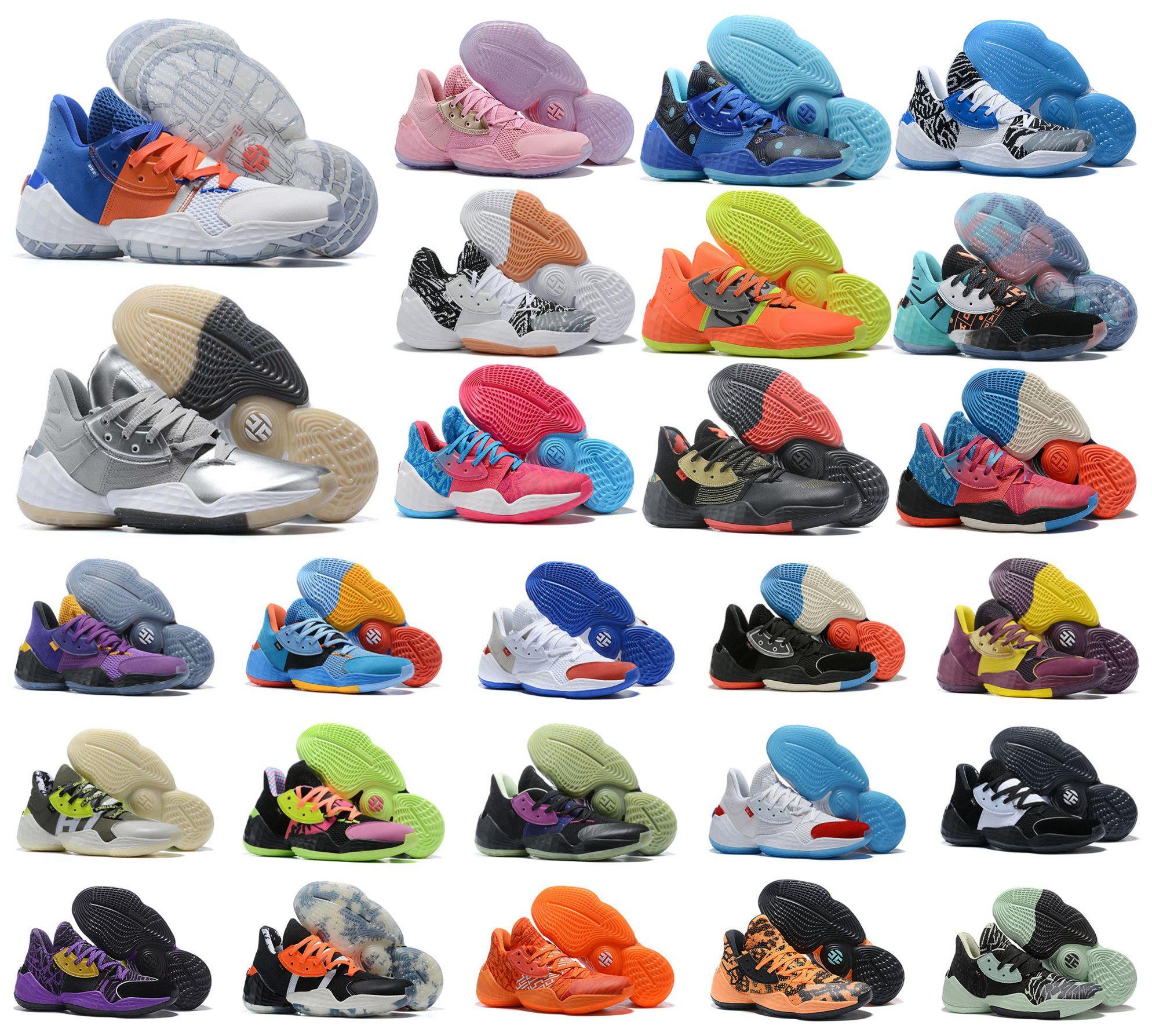 2020 새로운 제임스하든 4 권. 4 개 4S IV MVP 블랙 소년 남성 농구 신발 야외 스포츠 교육 운동화 크기 40-46