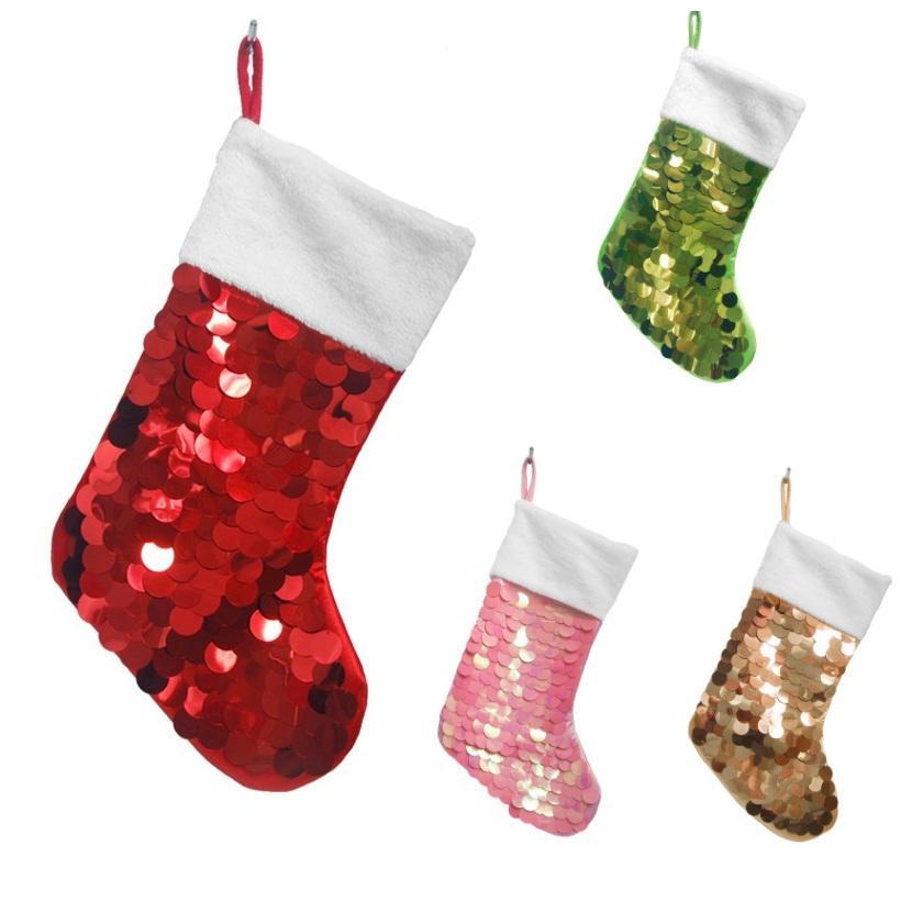 Payetli Noel Çorap 19 İnç payetli Çorap Noel ağacı kolye Noel Süsleri Parti 4 Renk DHB1656 Malzemeleri