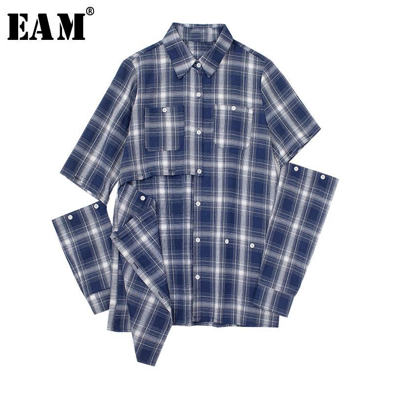 [EAM] Las mujeres escocesa azul ahueca hacia fuera la blusa de Sittch Nueva solapa de manga larga suelta Fit camisa de la manera marea viva LJ200811 otoño