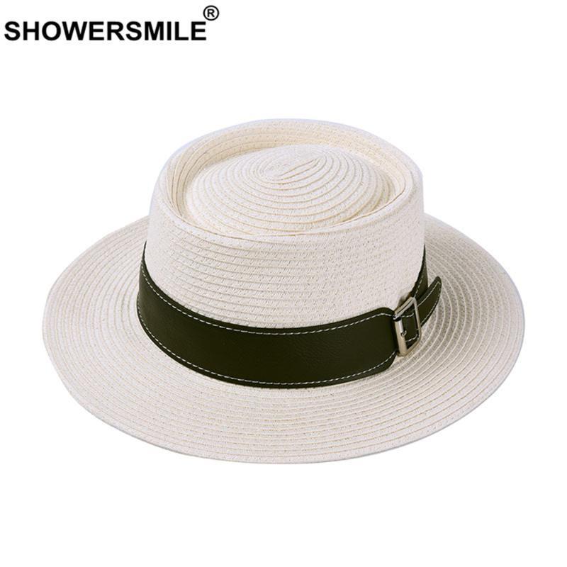 SHOWERSMILE Женщины Мужчины ВС Hat Британский стиль Панама Соломенная шляпка Черный Белый Джаз Летние путешествия Пляж Плоский Брим Кап