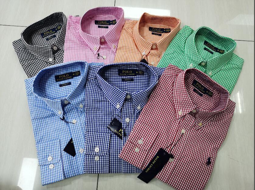 Männer Casual Langarm-Shirt Plaid Top dünne lange Hülsen-Baumwollhemd-freies Verschiffen
