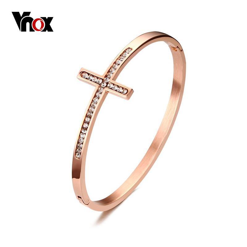 Vnox Sideways Cruz da fé cristã Pulseiras Pulseiras ouro rosa-cor cruz pulseiras para as mulheres com CZ Stone