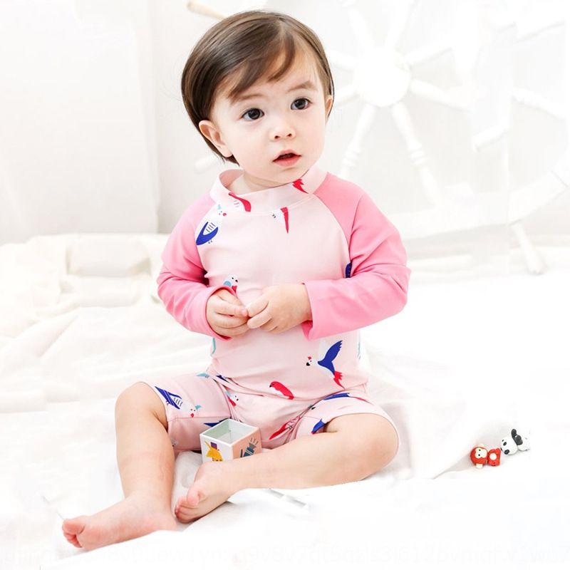 Çocuk kız çocuk papağan tek parça uzun kollu güneş korumasını Bebeğin Bebeğin mayo çabuk kuruyan mayo