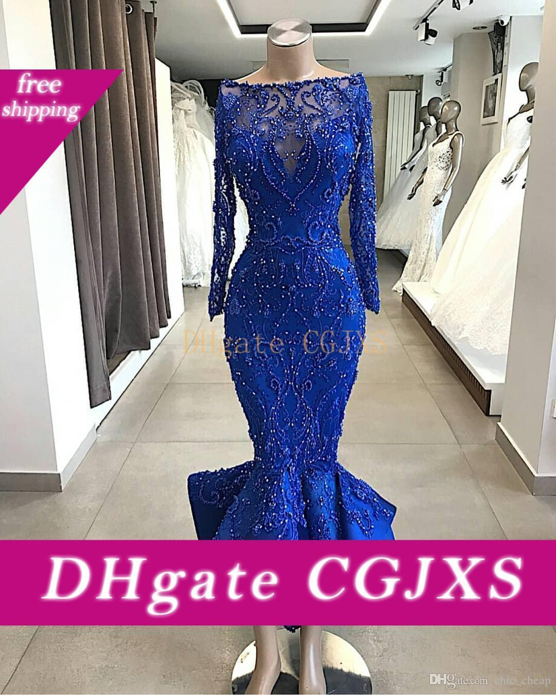 Mermaid Royal Blue luxe 2019 robes de soirée à manches longues perles Sheer cou Robes de bal Sexy Pageant fête officielle Robes