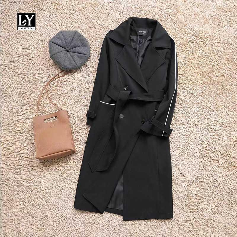 Ly Varey Lin 2020 Kadınlar İlkbahar Sonbahar Çift Breasted Turn Down Yaka Orta uzun Trençkot İş Vintage WINDBREAKER Dış Giyim