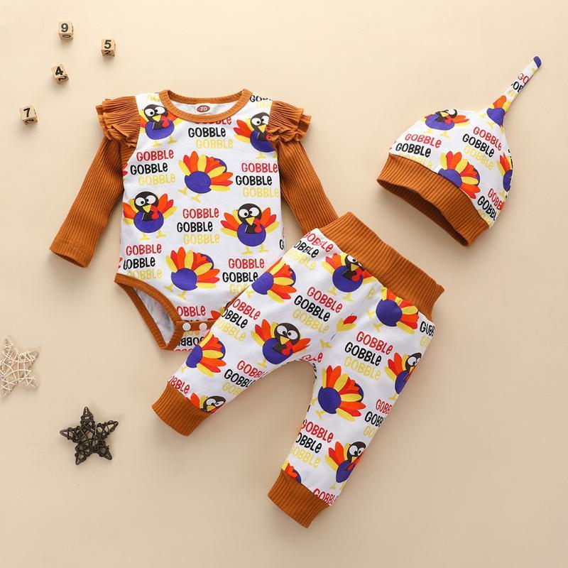 3PCS Yenidoğan Şükran Türkiye Romper Pantolon Şapka Cap Ruffle Kol Kıyafetler Bebek Erkek Bebek Kız Kış / Sonbahar Elbise Seti