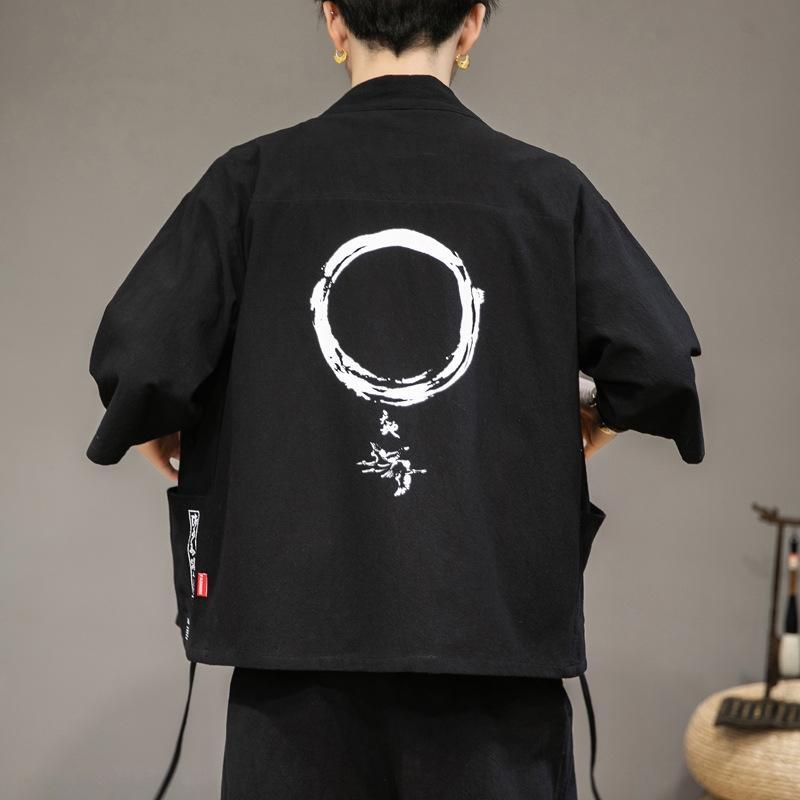 veste crème solaire hommes de style chinois manteau veste costume Tang Tang costume décontracté grand manches d'été demi-taille antique manteau chinois robe lâche fa