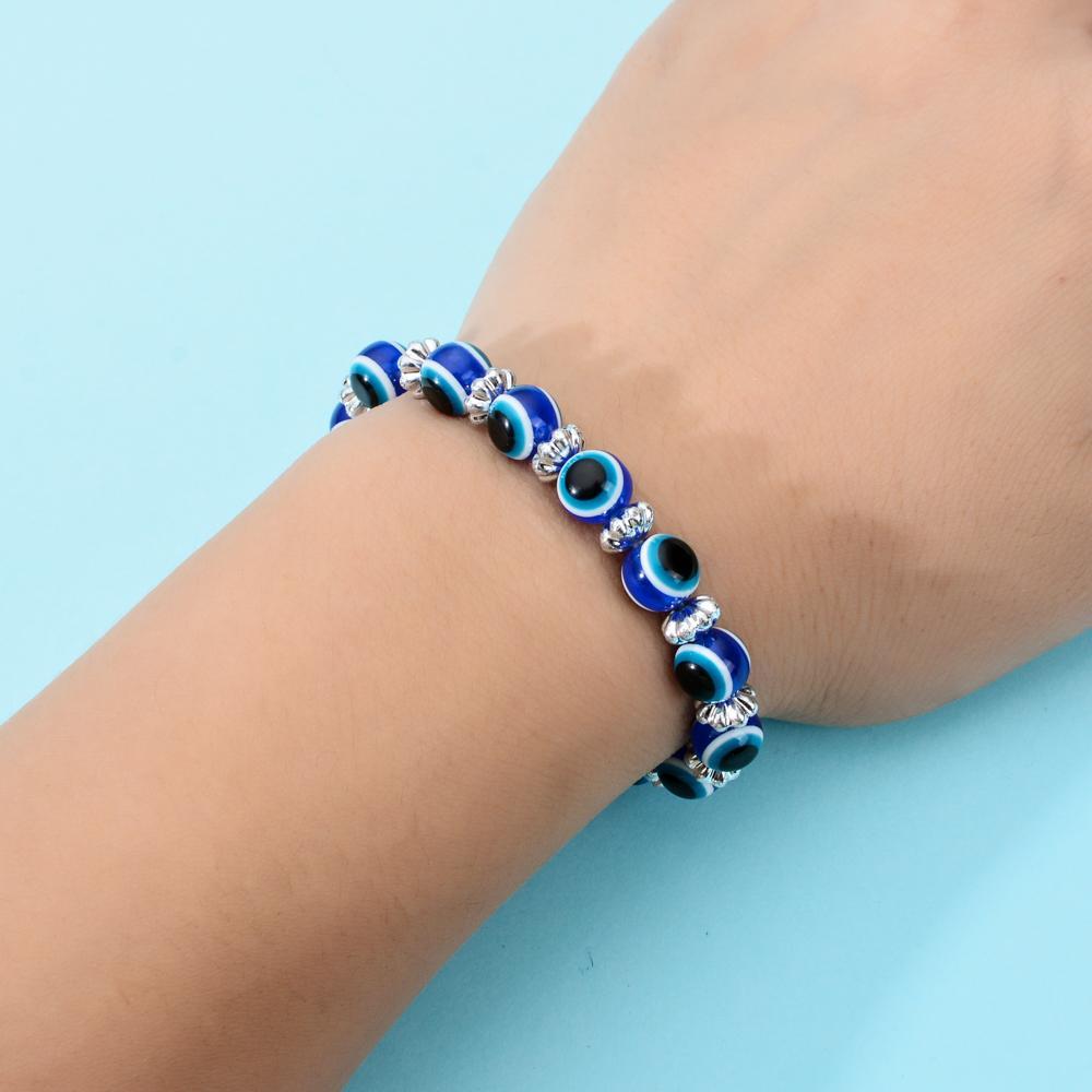 20pcs / lot classique Evil Eyes strass enfants Perles Bracelets Bracelet en verre élastique Wristband Cadeaux Bijoux Enfants Pulsera