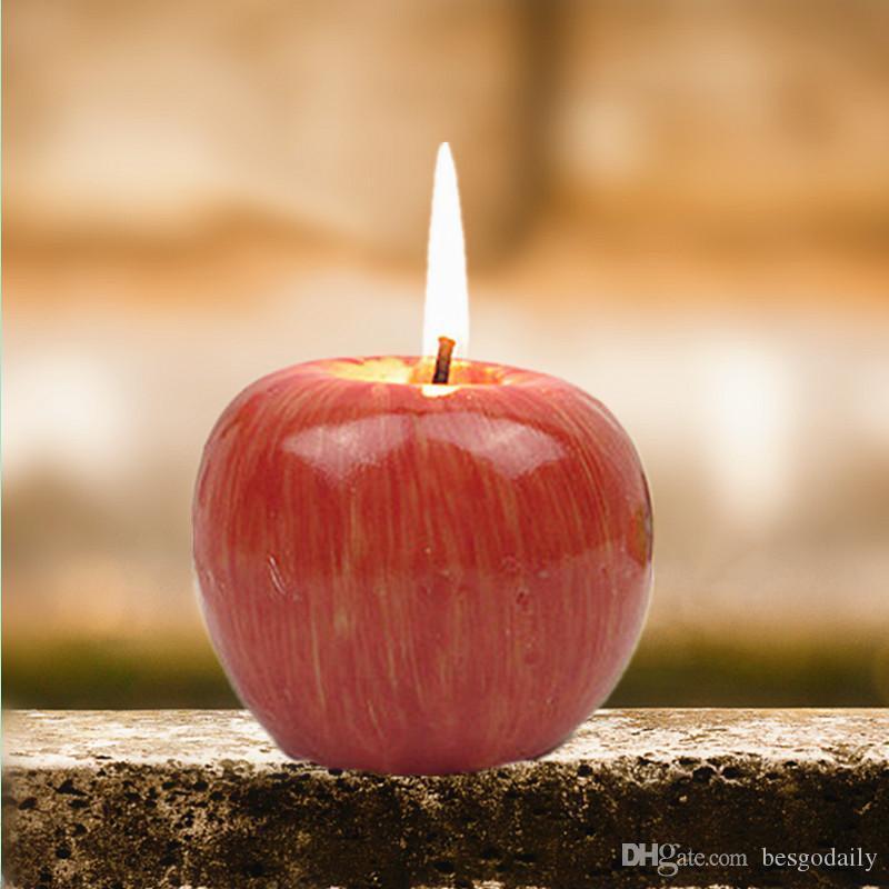 شكل S / M / L التفاح الأحمر شمعة مع صندوق الفاكهة الشموع المعطرة مصباح هدية عيد ميلاد الحزب زفاف عيد الميلاد الديكور المنزلي بالجملة BH2693 DBC