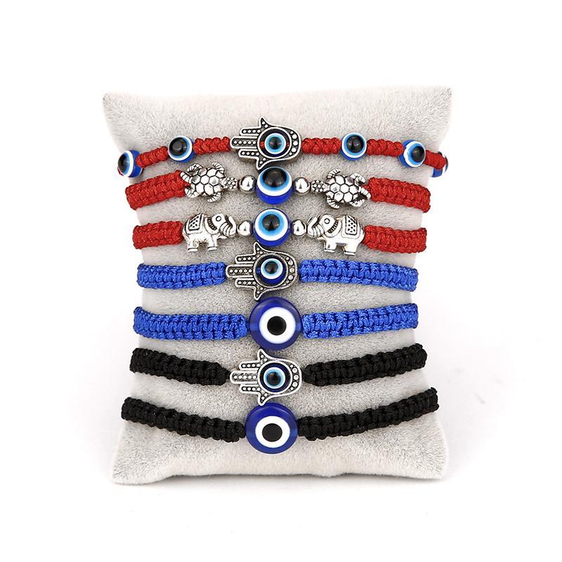 Nouveau bleu mauvais oeil Charm bracelets tressés corde Chaînes pour les femmes hommes tortue éléphant Hamsa charme de la main rouge cordes Bangle bijoux à la mode