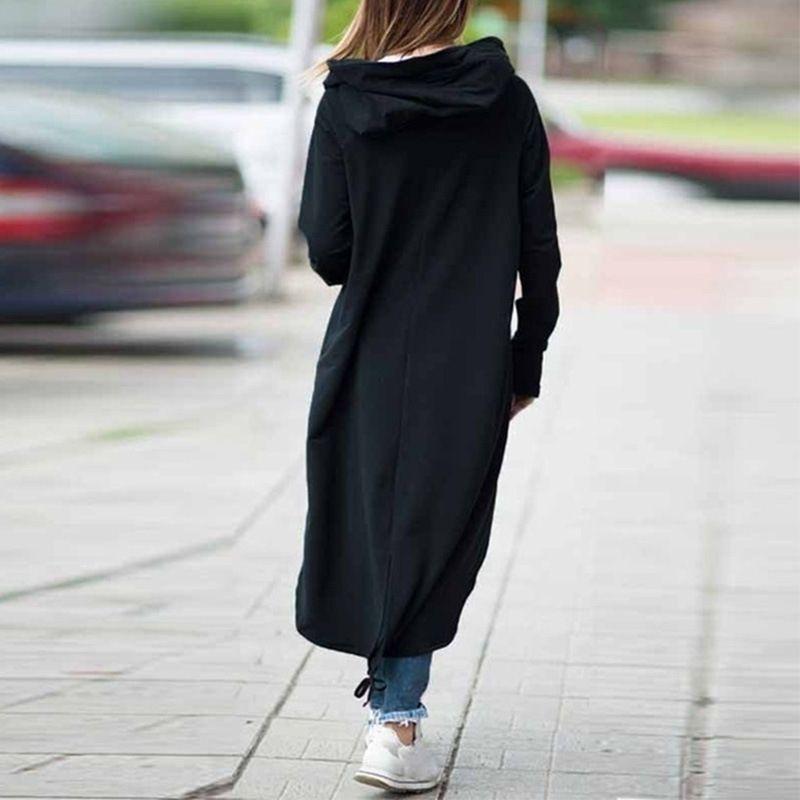 XTGFe automne et l'hiver touche les femmes Bouton asymétrique longue fermeture éclair pour zipper femme manches poche manteau mi-longueur manteau à capuchon