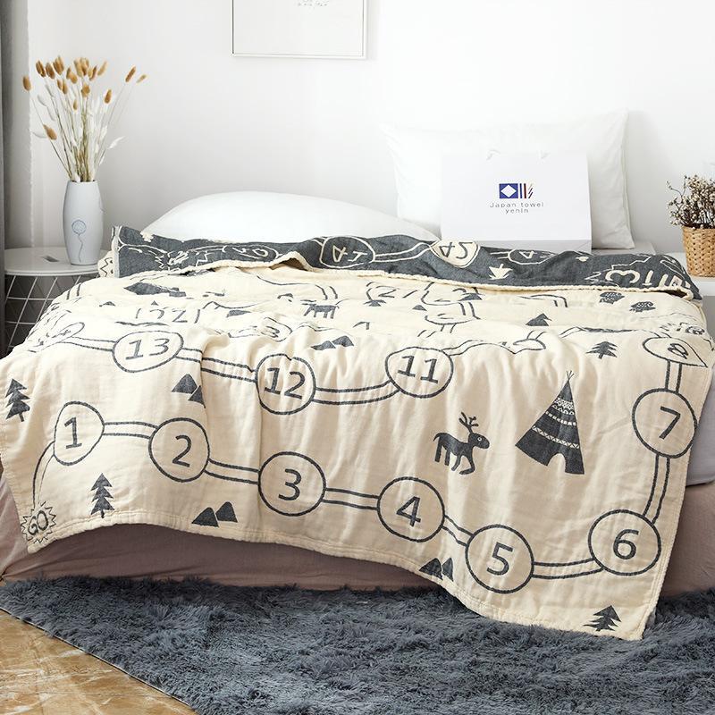 Muslin Couverture en coton pour adultes et enfants doux et Throw Blanket légère pour Canapé-lit Canapé Literie Coverlet All Season