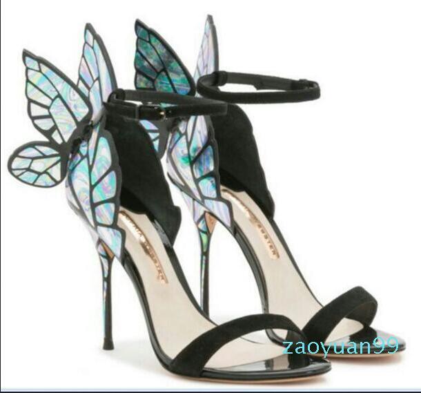 Sıcak Satış-Sophia Webster Sandalet bayan ayakkabı Gerçek Deri Kadınlar Seksi Stiletto Ayakkabı için Kelebek Yüksek Topuk Sandalet Pompalar