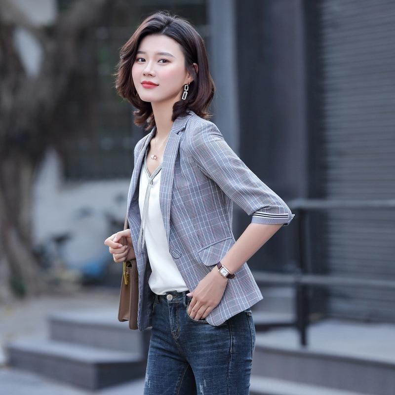 Плед костюм для женщин короткого пальто 2020 Весна новых корейского стиля Британского стиль короткого пальто маленького костюм модных