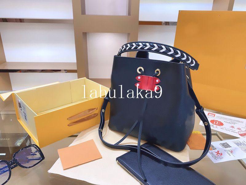 2020 novas bolsas sacos de ombro NEONOE Noé bolsa de couro balde mulheres flores impressão bolsa saco crossbody com saco