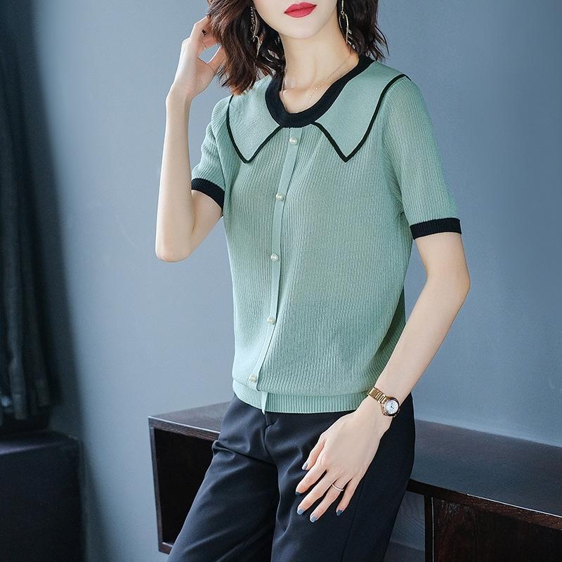 xcbsx Летней куклы воротник нижней Т-рубашка женщины 2020 Корейского стиля с короткими рукавами верхней рыхлой трикотажа обувь мода нового лед шелк футболку