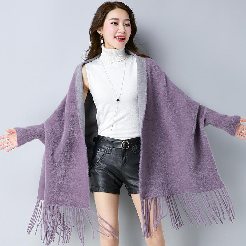 sykB1 Imitation mink shawl cape coat for women 2019 autumn and winter New sleeve tassel solid shawl knitwear color bat sleeve all-match knit