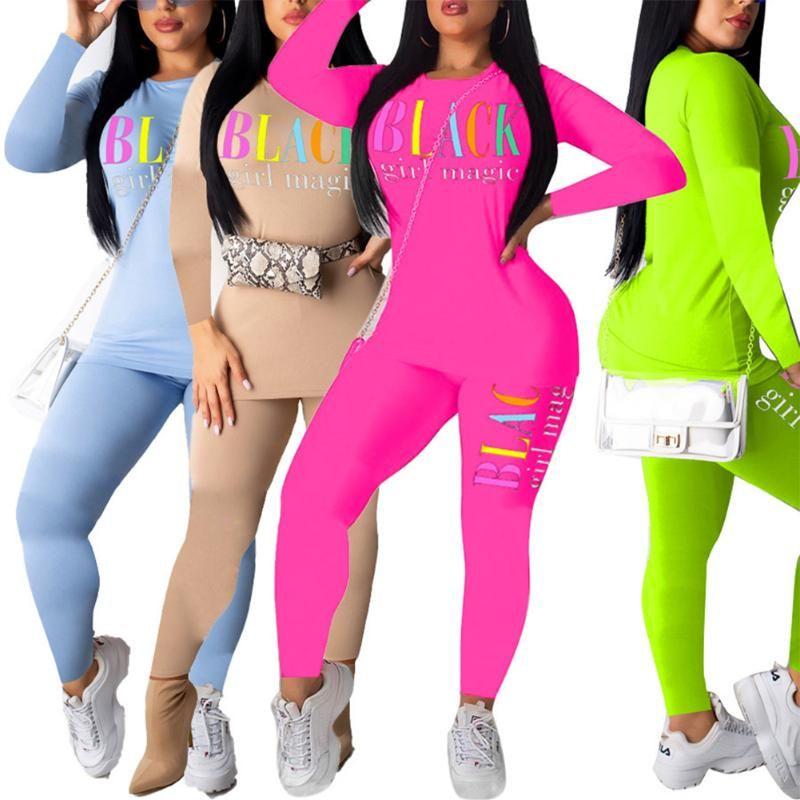 Hirigin Mulheres novas de outono roupas de primavera Define PRETO Inglês Printing equipamento ocasional manga comprida T-shirt Calças Sexy Magro Roupa
