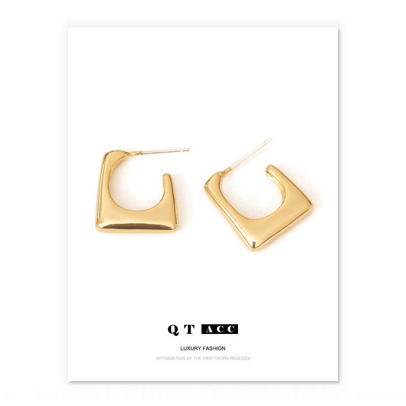 Nicho de bronze pequeno quadrado Forma geométrica agulha de prata banhado a ouro todo-jogo brincos e brincos design elegante brinco ZqiCN