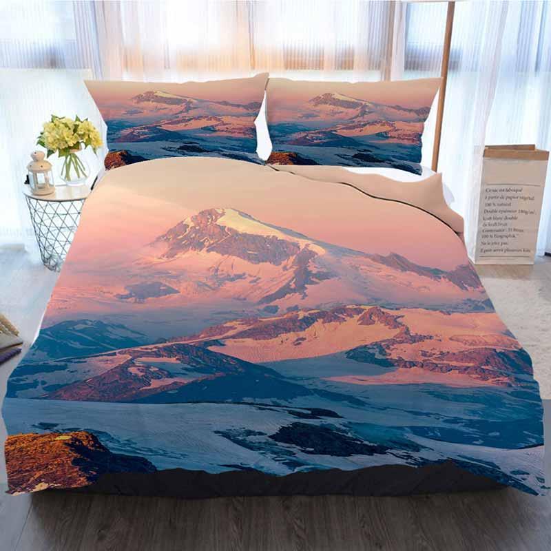 Roupa de cama 3 peças Sets capa de edredão, pitoresco nascer do sol em montanhas, Casa Luxo macia edredon Consolador Tampa